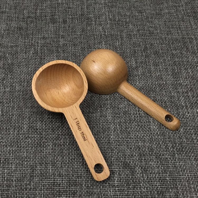 Creative Home Black Walnut Beech Wood Manual Spoon Measuring Spoon 15 Ml Coffee Powder Measuring Spoon