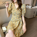 LANIS New 2021 Spring Summer Dress Floral Dress Retro Women's Fashion French Holiday Style Thin A-shaped Skirt Vintage Mini