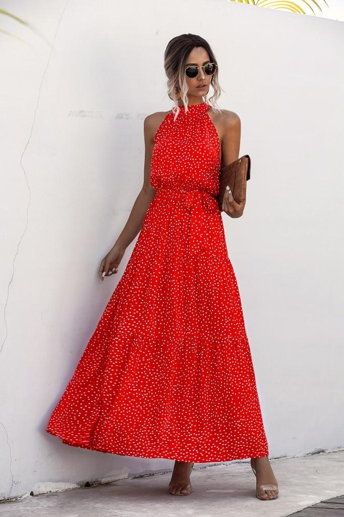 Summer Elegant  beach Women Dress  2020 long Print Flowers Polka-dot strap Ladies Halter boho Dress Vintage party ladies Dress 10