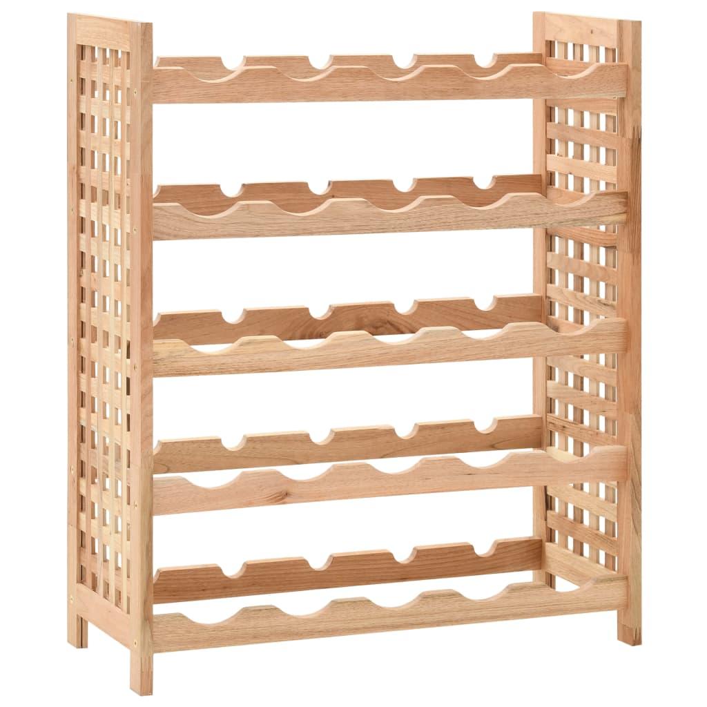 Wine Rack for 25 Bottles Solid Walnut Wood 63x25x73 cm