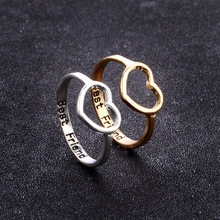 Starry Smooth Ring Love Heart Rings Best Friend Hearttex Letter Ring Women Men Couple Ring(China)