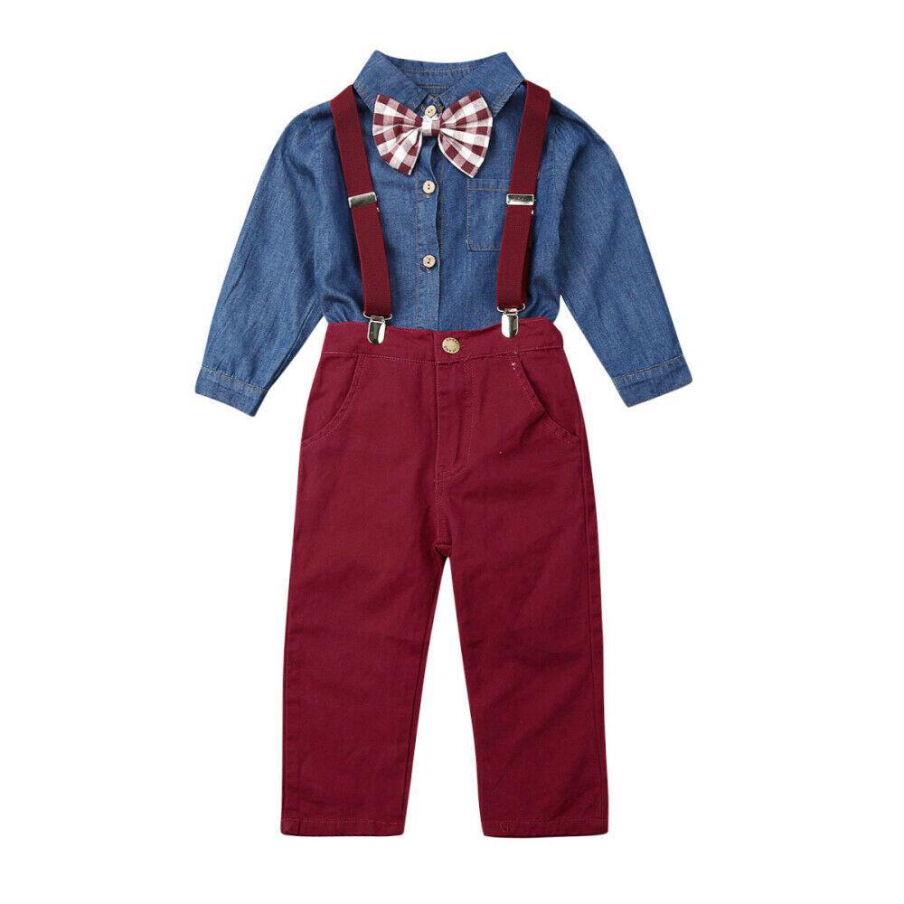 2pcs Toddler Kids Baby Boy Clothes Denim Shirt Tops+Denim Pants Outfits Set