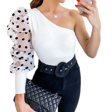 Women Mesh Net Blouse Sheer Puff Sleeve Top One Shoulder Ladies Shirt Sexy Tops Womens Clothing Slim Fit Female blusa feminina