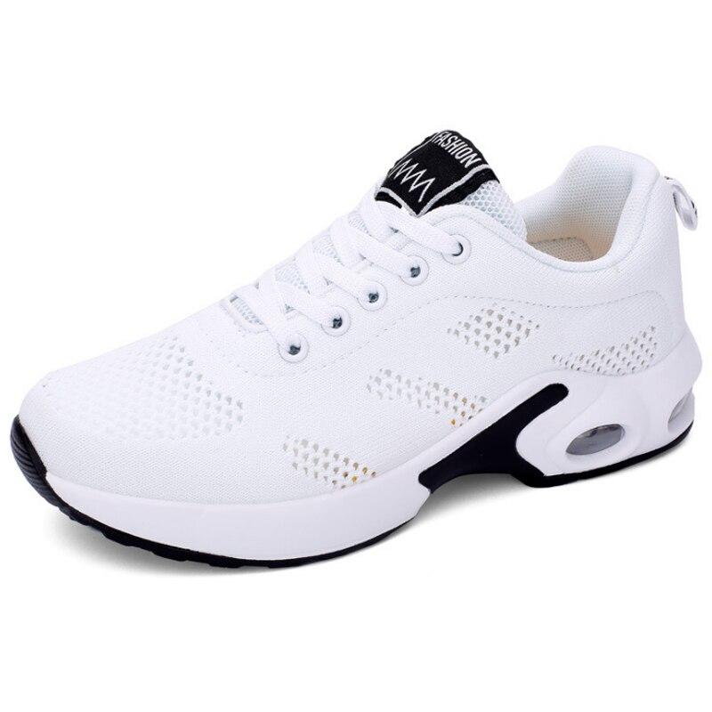 KAMUCC/Новинка; женские кроссовки на платформе; дышащая женская повседневная обувь; модная женская обувь, увеличивающая рост; большие размеры 35-42 - Цвет: Белый