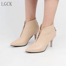 Plus Size 34-48 Spring Winter Sexy V-cut Black Boots for Women Thin High Heels Pumps Shoes Woman Ankle Boots Stiletto Fashion original intention super fashion women ankle boots 2017 beautiful thin heels high quality black shoes woman plus us size 4 15
