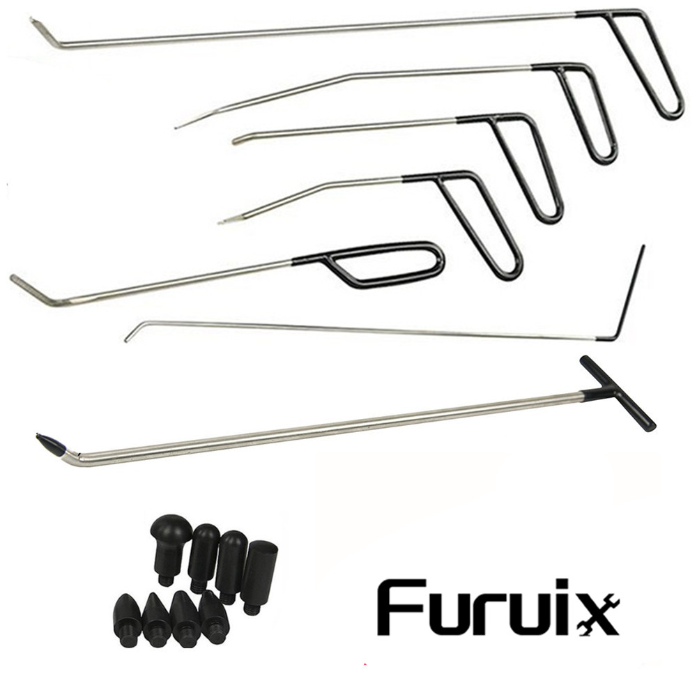 Furuix Dent Removal Rods Tools Dent Repair Kit 6 pcs Rod hook C  amp  Tap Down with 1PC R1 Push Hooks