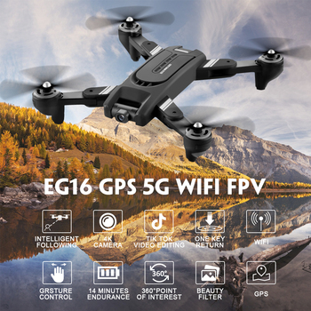 Eachine EG16 WINGGOD GPS 5G RC Drone WiFi FPV with 4K HD Camera Foldable Optical Flow Positioning Dual Lens Quadcopter RTF