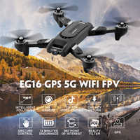 Eachine eg16 winggod gps 5g rc zangão wifi fpv com 4 k hd câmera dobrável fluxo óptico posicionamento dupla lente quadcopter rtf