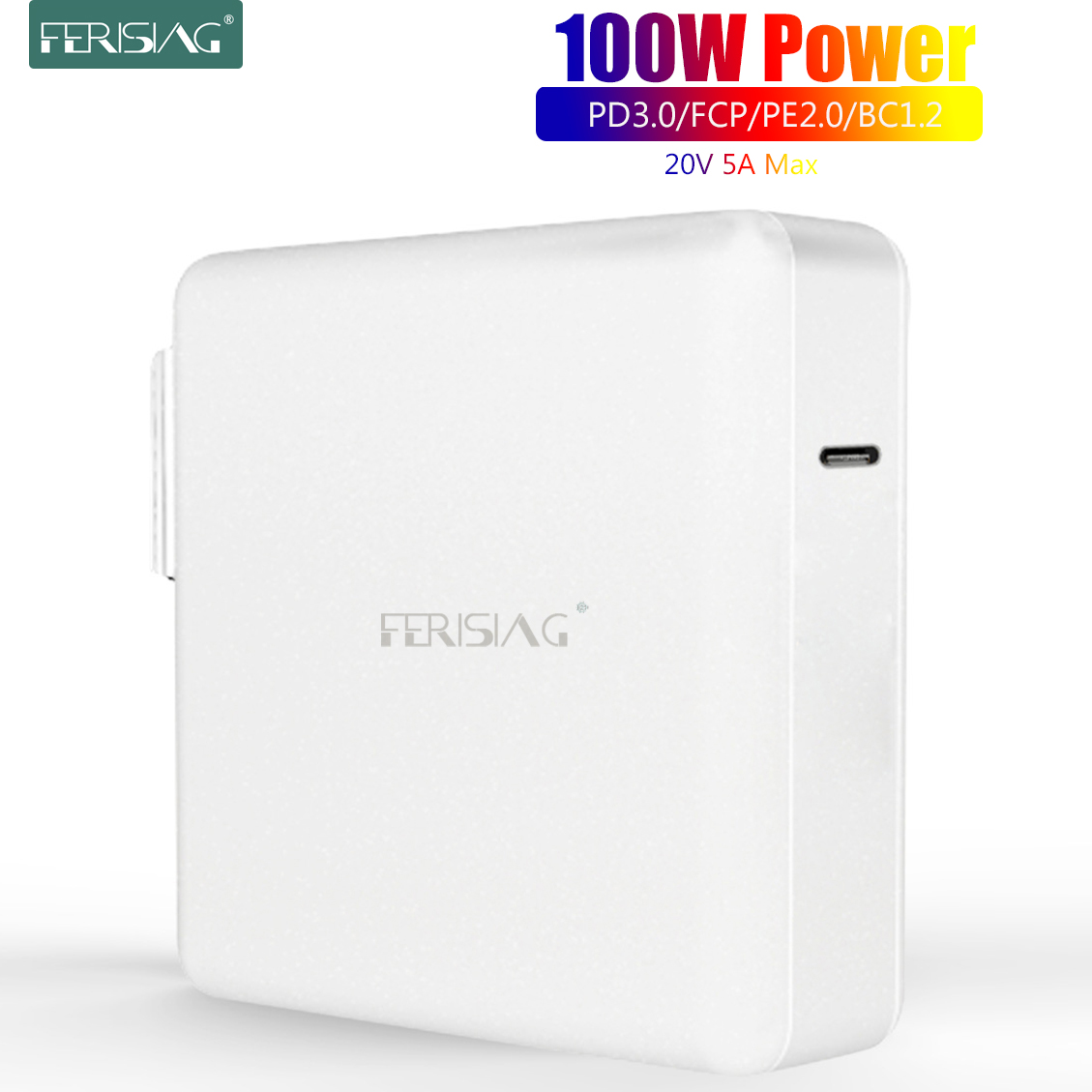 FERISING <font><b>100W</b></font> PD <font><b>Fast</b></font> Quick <font><b>Charger</b></font> Type-C USB C QC3.0 QC4.0 Power for MacBook Pro Air 13'' 14'' 15'' iPad iPhone Samsung Xiaomi image