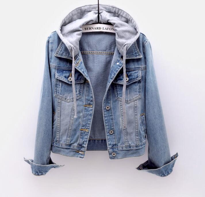 Women's Boyfriend Drawstring Denim Jacket Women Casual Denim Jacket Long Sleeve Denim Jacket Retro Hooded Pocket Jacket 2020 New