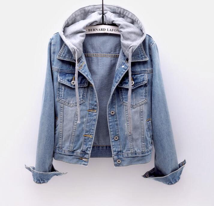Women's Boyfriend Drawstring Denim Jacket Women Casual Denim Jacket Long Sleeve Denim Jacket Retro Hooded Pocket Jacket 2020 New
