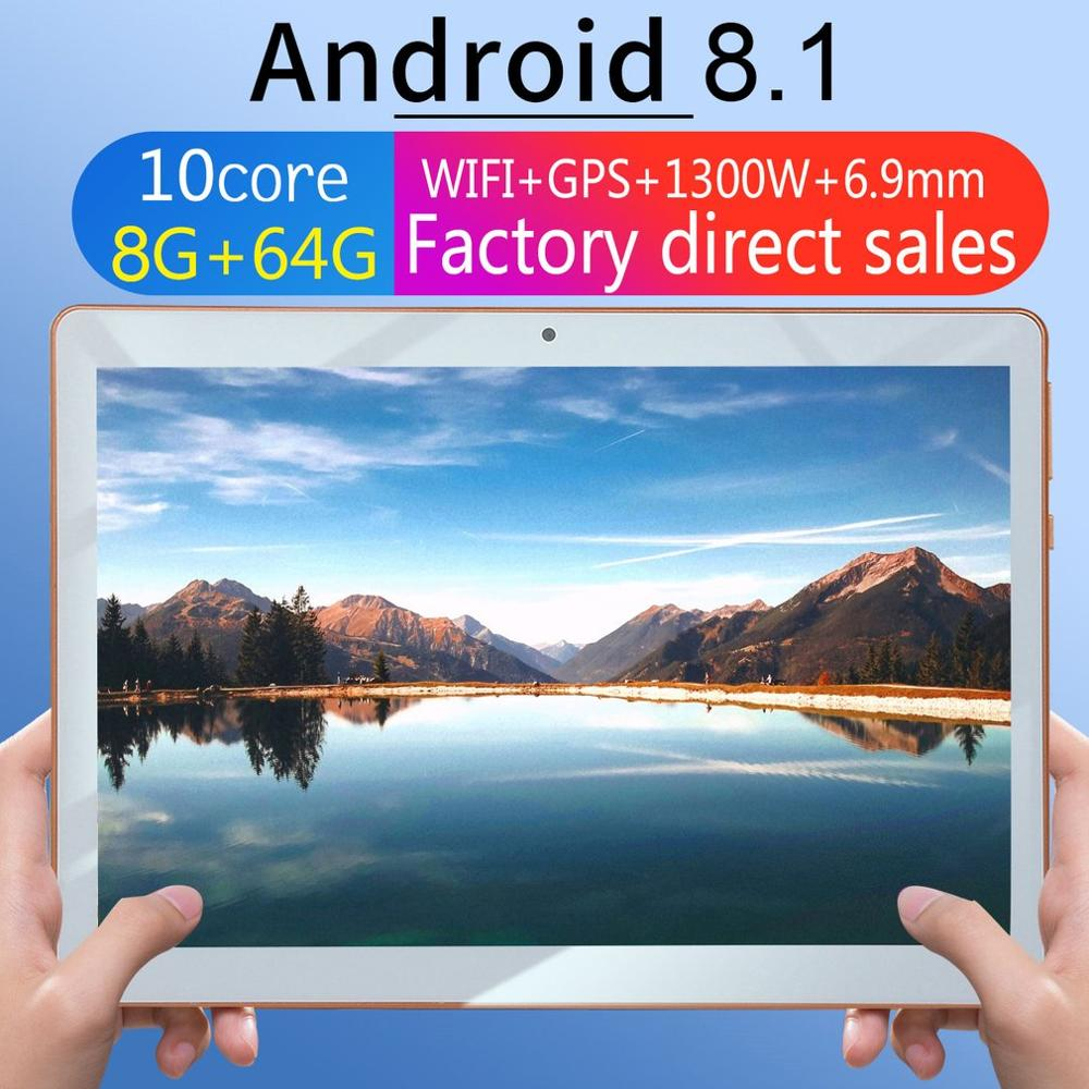 KT107 Plastic Tablet 10.1 Inch HD Large Screen Android 8.10 Version Fashion Portable Tablet 8G+64G White Tablet
