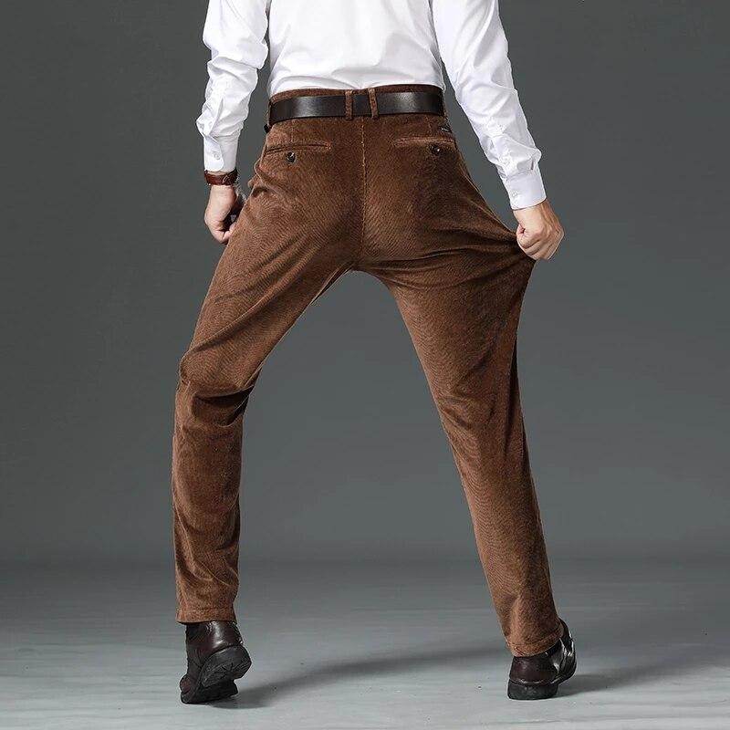 Новые мужские вельветовые повседневные штаны, деловые, модные, однотонные, эластичные, обычные, мужские, черные, кофейные, большие размеры 28 40|Повседневные брюки|   | АлиЭкспресс