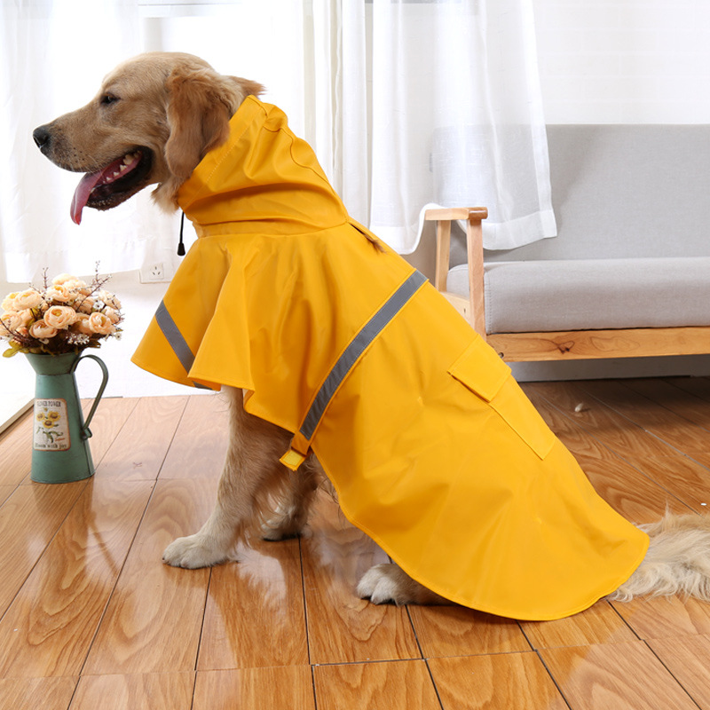 XS-XXXL Reflective tape large dog raincoat coat pet clothes teddy bear big rain factory direct sale