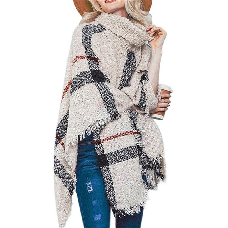 Women Sweater Cloak Patchwork Turtleneck Knitted Coat Winter Clothes 2019 Fashion Streetwear Tassel