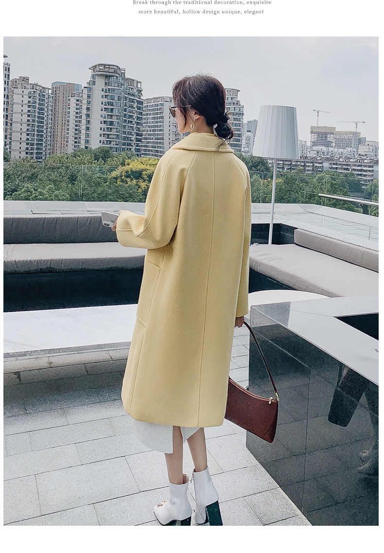 Formal de lã blazers feminino 2019 pista jaquetas plus size algodão casaco longo fino senhoras casual fino blazers para mulher 0172
