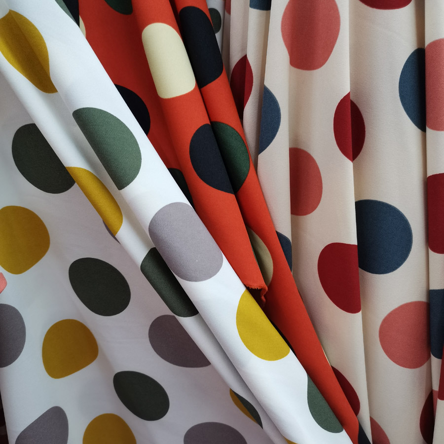 Large Dot Chiffon Fabric Stretchy Soft dropping palazzo Dress Shirt Material breathable DIY dress blouse fabric