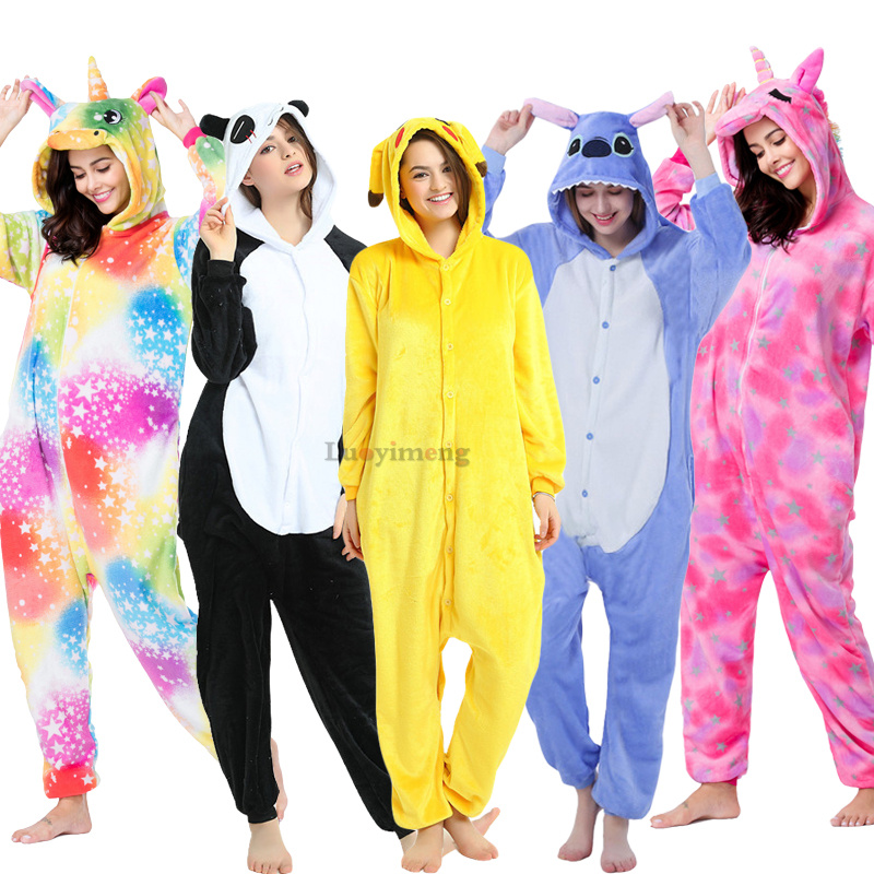 Adults Pikachu Panda Pajamas Unicorn Onesies Women Sleepwear Stitch Nightwear Overalls Winter Animal Kigurumi Cosplay Pyjamas
