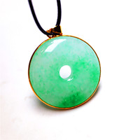 Koraba Natural Green Jade Peace Buckle Circle Donut Necklace White 14K Gold Plated Necklace