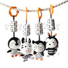 TUMAMA Black and White Baby Toys Plush Hanging Rattles and Crib Stroller Pram Gym Toys for 3 6 9 12 Months