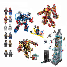 Compatible LEGO Avengers Hero Robot Iron Man Base Spiderman Movie Model Figures Building Blocks Bricks Action Figure Toy For Kid(China)