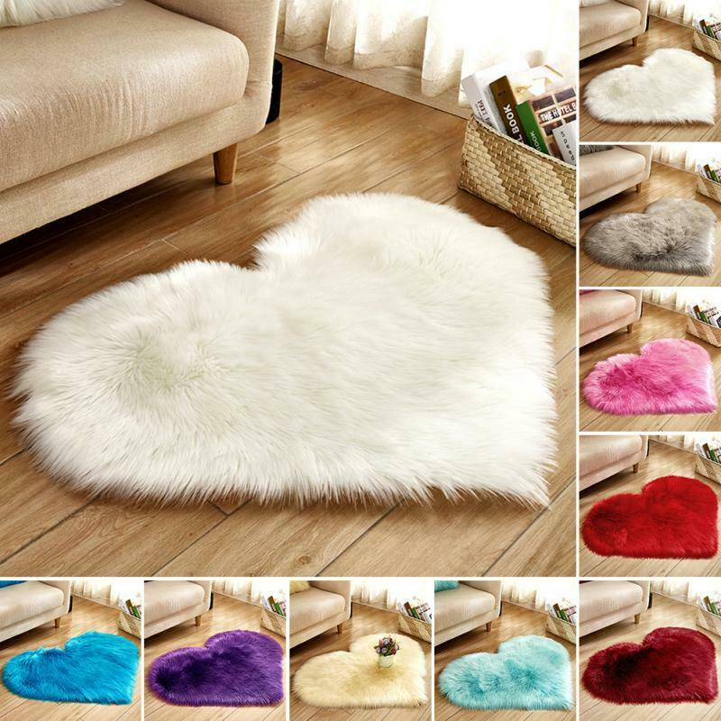 Love Heart Shaped Faux Fur Fluffy Anti-Skid Area Rug Carpet Bedroom Floor Mat 1PCS