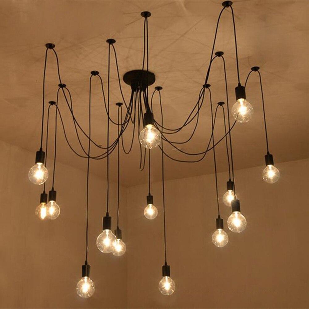 220v 현대 LED 샹들리에 조명기구 검은 철 4/6/8 머리 지점 천장 샹들리에 산업 램프 거실 침실