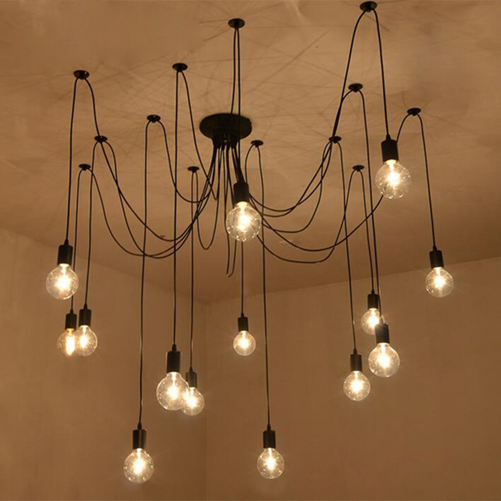 220v Modern LED Chandelier Lighting Fixtures Black Iron 4/6/8 Head Branch Ceiling Chandelier Industrial Lamp Living Room Bedroom