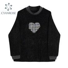 Manga longa camisetas gráficas feminino amor padrão o pescoço pulôver feminino camisa gótica streetwear moda oversized blusa preto
