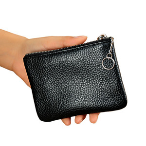 Women Men Real Cowhide Genuine Leather Coin Purse / Key Wallet 2018 Brand Designer Zipper Mini Credit Card Holder Short Small(China)