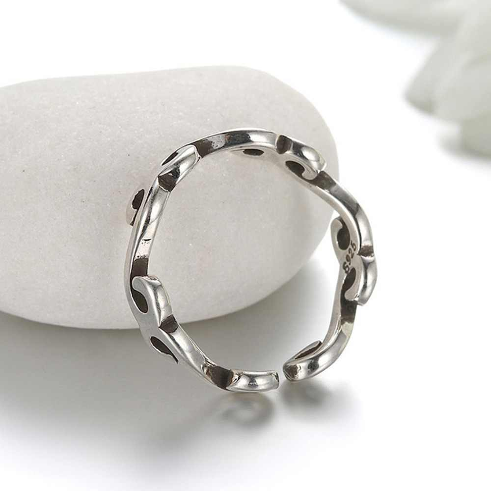 Vintage Silver Jewelry Simple Rings Male Twist Adjustable Ring Engagement Wedding Ring For Women Men Christmas Gift