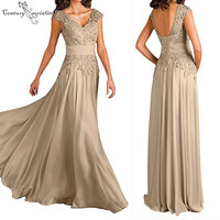 Champagne Mother Of The Bride Dresses Plus Size Cap Sleeves Lace Up Back Appliques Chiffon Mother Evening Formal Party Gowns