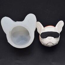 3D wearing sunglasses collar bulldog dog head handmade soap