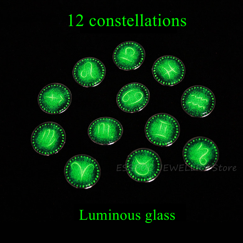 Glowing Crafts 12 Constellation Round 25mm Luminous Glass Cabochon Handmade Zodiac Signs Jewelry Jewelry Findings Dropshipping