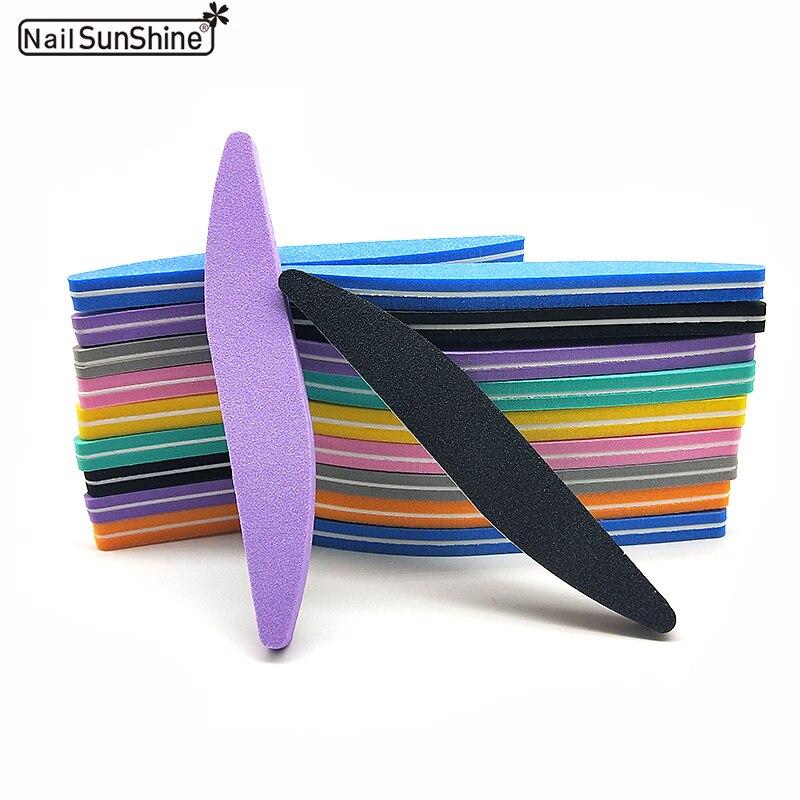 50 шт./лот пилка для ногтей типа Полумесяца 100/180 цветная губка пилка для ногтей Lixa De Unha Lima буферный набор инструментов для педикюра и маникюра