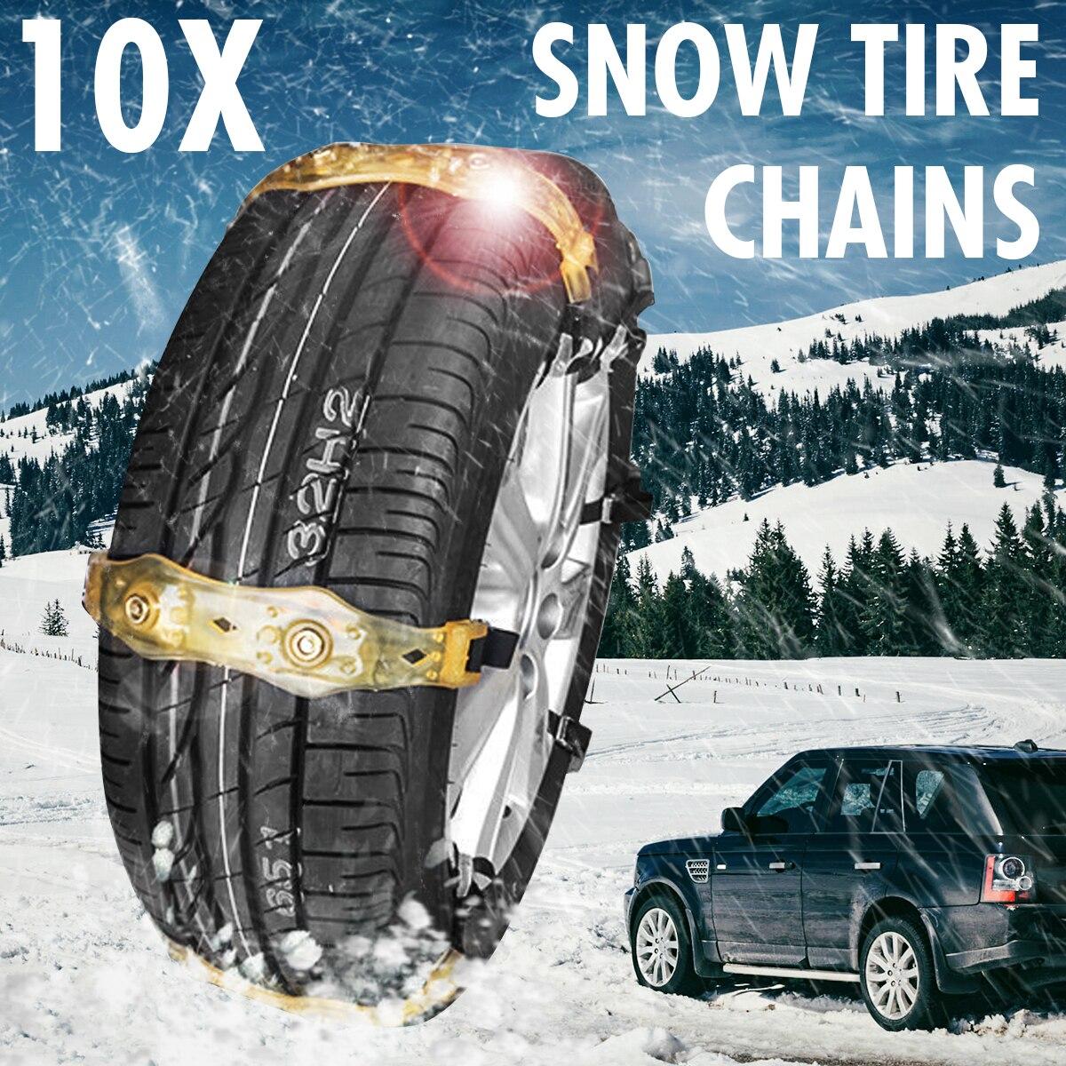 10 pièces voiture neige pneu neige chaîne hiver véhicule antidérapant résistant à l'usure Nylon chaîne avec neige pelle gants sac de rangement trousse à outils