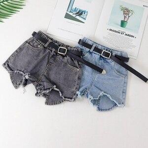 Pantalones cortos vaqueros rasgados, traje de verano para niñas con cinturón, pantalones de moda para niñas de 10 a 12 años