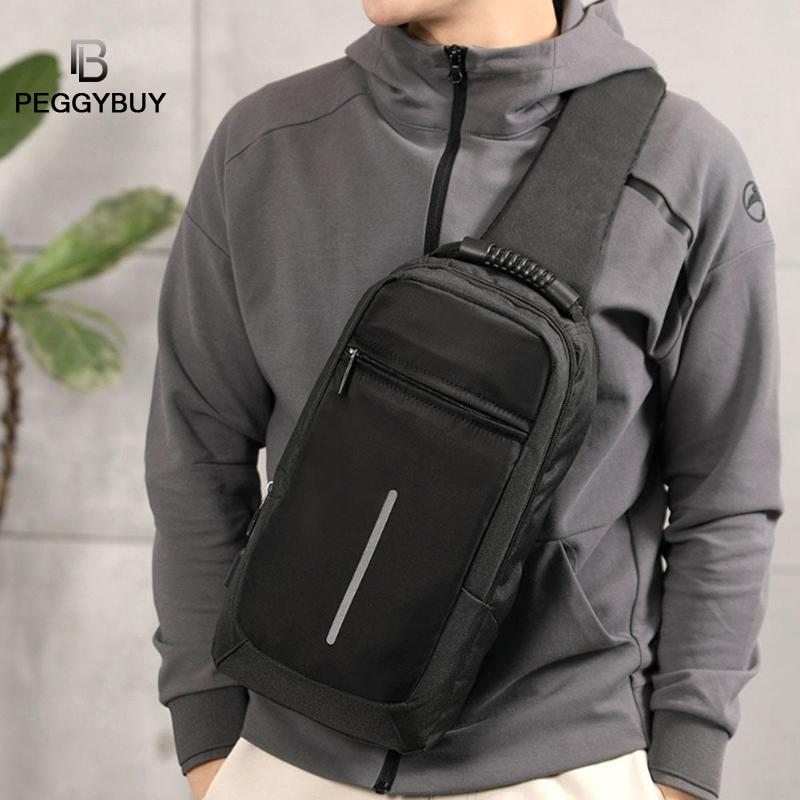 Casual Men Big Capacity Chest Packs Shoulder USB Charging Crossbody Handbag Shoulder USB Charging Crossbody Handbag Dropshipping
