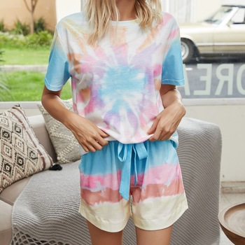 Fashion Print Casual Top Shorts Two-Piece Suit Tie Dye Set Women Clothes Loose Summer Clothing Pajama Set fashion print casual top shorts two piece suit tie dye set women clothes loose summer clothing pajama set