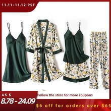 Print Flower Wedding Robe Set Women Sexy 5pcs Nightwear Nightgown Loose Kimono Bath Gown Silky Soft Satin Home Clothes Lingerie