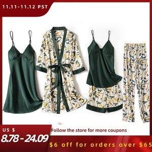 Image 1 - Print Flower Wedding Robe Set Women Sexy 5pcs Nightwear Nightgown Loose Kimono Bath Gown Silky Soft Satin Home Clothes Lingerie