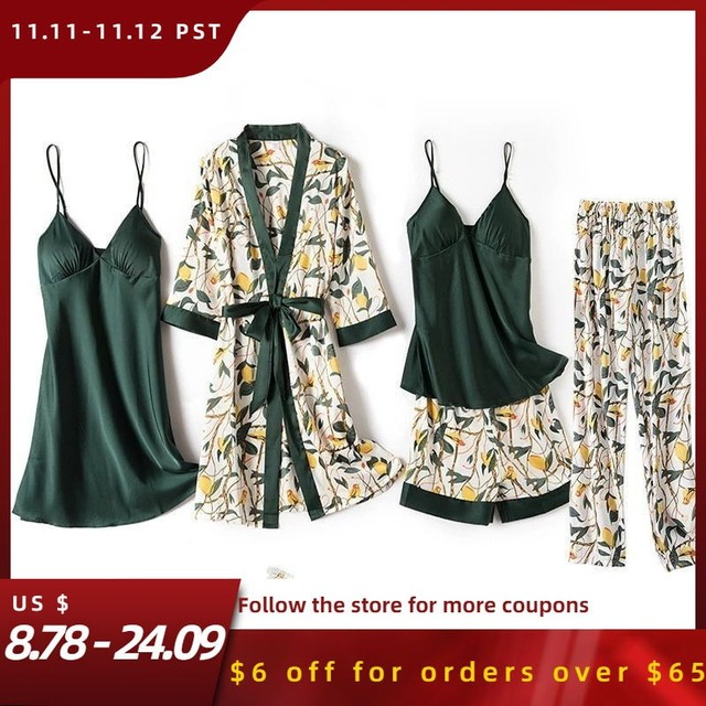 Print Flower Wedding Robe Set Women Sexy 5pcs Nightwear Nightgown Loose Kimono Bath Gown Silky Soft Satin Home Clothes Lingerie