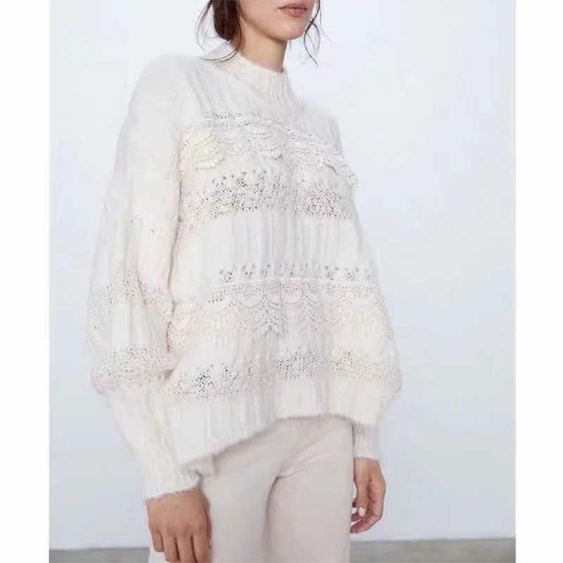 ZA tarzı sonbahar kış kadın sıcak tops beyaz örme dantel kazak see-through kadın kazak rahat bayan çekme kadın jumper