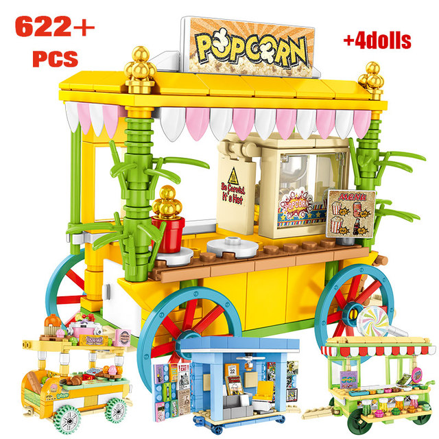 4 IN 1 Pastry House Hot Dog Car Store Buildings Blocks For City Street View Food Store Bricks For Toys Children Girls