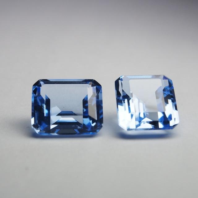 12*14 mm 5 Piece octagon Hydrothermal Quartz Aquamarine crystal Loose gemstone for jewellery making 3