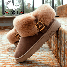 LazySeal Warm Winter Snow Boots Furry Shoes Women Buckle Star Female Pleated Plu