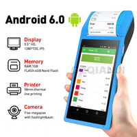 PDA POS Handheld device Pos terminal built in thermal bluetooth printer 58mm wifi Android Rugged PDA Barcode Camera Scaner 1D 2D