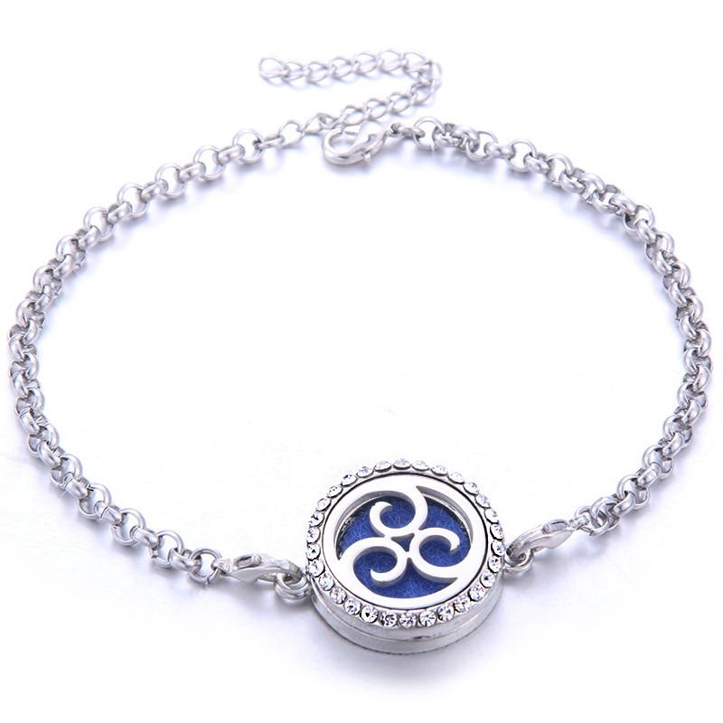 New 5pcs Tree of Life Aromatherapy lockets perfume Aroma Essential Oil Diffuser bracelet Adjustable Crystal bracelet wholesale