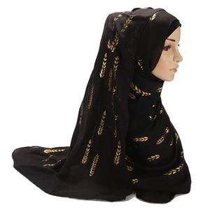 Image 5 - Hiyab musulmán blanco y negro para mujer, pañuelo liso para la cabeza, Hijab, chal, estampado de hojas doradas, Jersey, bufandas, novedad de 2020