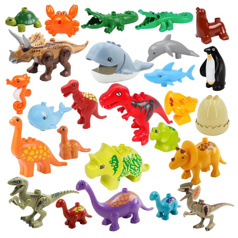 Конструктор большой размер, аксессуары, Акула, пингвин, Кит, динозавр, Совместимые Кирпичи, животные, интерактивные обучающие игрушки для де...